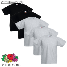 Fruit of the Loom Camiseta para niños 5 unidades gris/negro talla 128