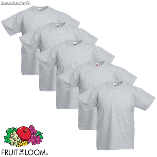 a1410d27a Fruit of the Loom Camiseta para niños 5 unidades gris talla 116