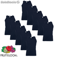 Fruit of the Loom Camiseta sin mangas algodón azul marino XL 10 uds