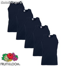 Fruit of the Loom Camiseta sin mangas algodón azul marino XL 5 uds