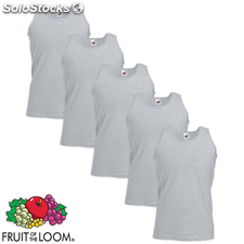 Fruit of the Loom Camiseta sin mangas Value Weight algodón gris XL 5ud