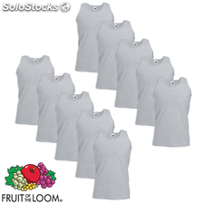 Fruit of the Loom Camiseta sin mangas Value Weight gris XXL 10 uds