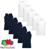 Fruit of the Loom Camiseta sin mangas ValueWeight blanca/marino S 10ud