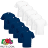 Fruit of the Loom Camiseta Value Weight blanca&azul marino 3XL 10 uds