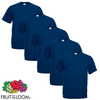 Fruit of the Loom Camiseta Value Weight talla G azul marino 3XL 5 uds