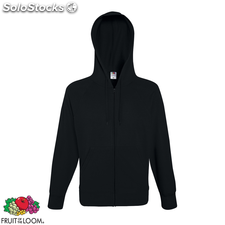 Fruit of the Loom Hoodie liviano con cremallera negro talla XXL