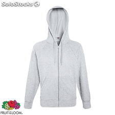 Fruit of the Loom Sweat à capuche zippé Hoodie Gris chiné S