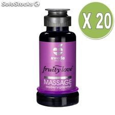 Fruity love aceite masaje efector calor 100 ml frambuesa / pomelo pack 20 uds