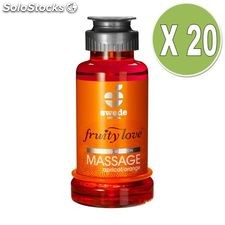 Fruity love aceite masaje efector calor 100 ml naranja/ albaricoque pack 20 uds