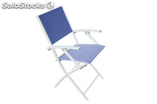 Fun armchair white, blue textilene