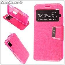 Funda Apple iPhone X Libro View Soporte Fucsia