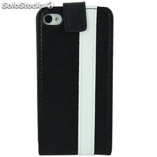 Funda cartuchera Mooster iPhone 4 vertical c/cierre negra linea blanca