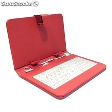 "Funda con teclado para tablet Sanda 7"" color rojo"