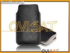 Funda de piel negra para Apple iPhone 3G, 3GS, 4, 4S, Samsung Galaxy Ace S5830,