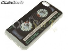 Funda de TPU diseño de cinta de cassette y borde transparente para Apple iPhone