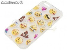 Funda de TPU transparente, con diseño Emoticonos Whatsapp, para Iphone 6, 6S.
