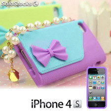 Funda iPhone 4/4S Bolso con Perlas