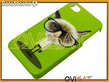Funda rígida verde con diseño 'Grumpy cat' para Apple iPhone 4/4S en blister.