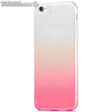 Funda TPU de gel degradada rosa y transparente para iPhone 7