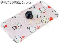 Funda TPU rosa con panda 3D achuchable para iPhone 6 Plus / 6S Plus