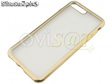 Funda TPU transparente con borde dorado, para iPhone 7 Plus, iPhone 8 Plus.