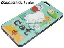 Funda TPU verde con gato 3D achuchable para iPhone 6 Plus / 6S Plus