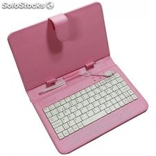 Funda universal para tablet 7 + teclado rosa ll-at-11-r