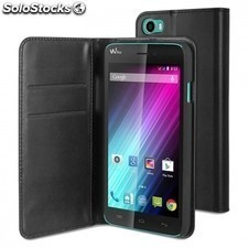 Funda wallet folio made for WIKO para smartphone lenny - funcion soporte - negro