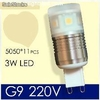 g9 led ac 220v 3w smd Crystal light Beads Cold /Warm White Lampara Focos led