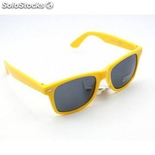 Gafas de sol retro wayfarer pasta color amarillo cristal normal