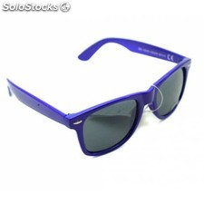 Gafas de sol retro wayfarer pasta color azul electrico cristal normal