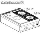 Gas boiling top - mod. tp2t/98g - solid top + n. 2 burners - dimensions: cm l 80