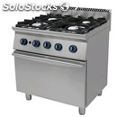 Gas cooker, 4 burners - mod. 7c4ffg - static gas oven gn 2/1 - absorption: kw