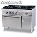 Gas cooker - mod. cf3/612gv - n. 3 burners - gas oven with grill gn 1/1 + n. 1