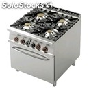 Gas cooker - mod. cf4/98g - n. 4 burners - gn 2/1 gas static oven - dimensions: