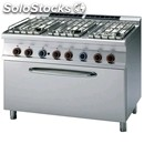 Gas cooker - mod. cf6/712gp - n. 6 burners - gn 3/1 gas static oven -