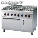 Gas cooker - mod. cf6/712gpev - n. 6 burners - gn 2/1 electric static oven - n.