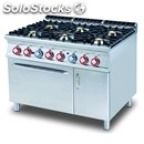 Gas cooker - mod. cf6/912gev - n. 6 burners - gn 2/1 electric static oven - n. 1