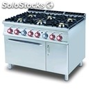 Gas cooker - mod. cf6/912gv - n. 6 burners - gn 2/1 gas static oven - n. 1