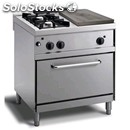 Gas cooker - mod. n72gqugh - solid top + n. 2 burners - gn 2/1 gas oven - pilot