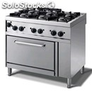 Gas cooker - mod. n76ggyh - n. 6 burners - gn 1/1 gas oven - no pilot light -