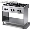 Gas cooker - mod. n76gnq - n. 6 burners - open cupboard - pilot light -