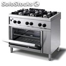 Gas cooker - mod. n76gnqgh - n. 6 burners - gn 2/1 gas oven - pilot light -