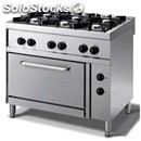 Gas cooker - mod. n76gqgf - n. 6 burners - gn 2/1 electric oven - pilot light -
