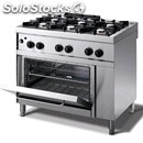 Gas cooker - mod. n76gqgh - n. 6 burners - gn 2/1 gas oven - pilot light -