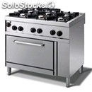 Gas cooker - mod. n76gqgyh - n. 6 burners - gn 1/1 gas oven - pilot light -