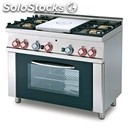 Gas cooker - mod. tpf4/610g - solid top + n. 4 burners - gas oven - dimensions: