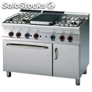 Gas cooker - mod. tpf4/712gpv - solid top + n. 4 burners - gn 2/1 gas static