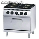 Gas cooker n. 4 burners with gn 1/1 static gas oven - mod. fn74qhh - pilot light