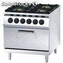 Gas cooker n. 4 burners with gn 2/1 static electric oven - mod. fn94qhf - pilot